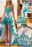 Sweetheart High-Low Prom Dress Short Satin Lace Evening Dress PD051