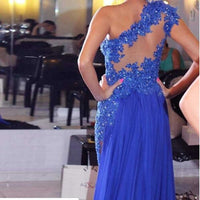 One-Shoulder Beaded Tulle Lace Prom Dress Sexy See Through Evening Dress PD010