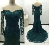 Sweetheart Dark Green Lace Prom Dress Elegant Full Sleeves Evening Dress PD016