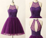 Sexy Halter Open Back Homecoming Dress Short Tulle Beadings Party Dress HD003