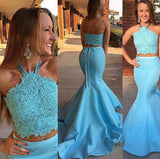 Halter Two Piece Beaded Lace Prom Dress 2 pieces Mermaid Evening Dress PD013