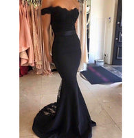Sweetheart Satin Lace Prom Dress Mermaid Off The Shoulder Evening Dress PD014