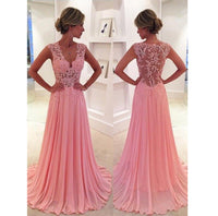 Pink V-Neck Chiffon Lace Prom Dress Sexy See Through Evening Dress PD015