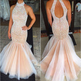 Sexy High Neck Open Back Prom Dress Mermaid Beaded Tulle Evening Dress PD004