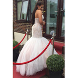 Halter Beaded Open Back Prom Dress Sexy Mermaid Tulle Evening Dress PD028
