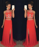 Two Piece Open Back Prom Dress High Neck Side Split Beaded Evening Dress PD025