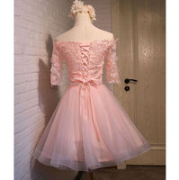 Cute Sweetheart Lace Homecoming Dress Short Pink Tulle Party Dress HD016