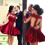 O-Neck Full Sleeves Homecoming Dress Short Satin Lace Party Dress HD012
