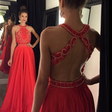 Sexy Halter Open Back Beaded Prom Dress Red Chiffon Evening Dress PD021