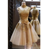 High Neck Tulle Lace Homecoming Dress Bow Belt Short Party Dress HD019