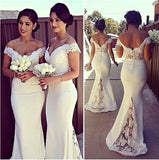 Sweetheart Off the Shoulder Bridesmaid Dress Mermaid Satin Lace Formal Dress BD004