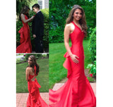 Red V-Neck Satin Prom Dress Sexy Mermaid Open Back Evening Dress PD031