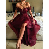 Sweetheart Off Shoulder Lace Homecoming Dress Burgundy High Low Party Dress HD014