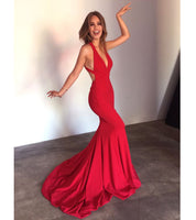 Deep V-Neck Red Satin Prom Dress Sexy Cross Back Mermaid Formal Dresses PD044