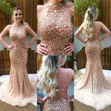 Sparkling Beaded Tulle Prom Dress Diamonds Open Back Mermaid Evening Dress PD060