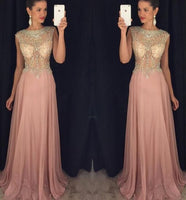 O- Neck Beaded Chiffon Prom Dress Sexy See Through Evening Dress PD055