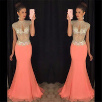 O-Neck Beaded Chiffon Prom Dress Sexy See Through Mermaid Evening Dress PD057
