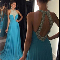O-Neck Beaded Chiffon Prom Dress Sexy Open Back A-Line Evening Dress PD062
