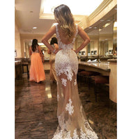 Sexy Backless See Through Tulle Lace Prom Dress Scoop Neck Evening Dress PD167