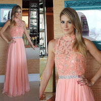 O- Neck Beaded Lace Prom Dress Sexy See Through Chiffon Evening Dress PD075