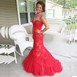 Elegant High Neck Beaded Tulle Lace Prom Dress Fashion Mermaid Evening Dress PD078