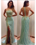 Sexy Side Split Beaded Mint Lace Prom Dress See Through back Long Evening Dress PD086