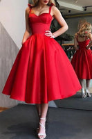 Simple Sweetheart Red Short Prom Dress with Pockets Short Satin Party Dress Cute Homecoming Dress Short Graduation Party Dress PDS004