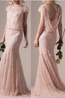 Fashion Scoop Pearl Pink Lace Prom Dress Elegant Long Mermaid Evening Dress PD088