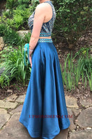 Discount Fashion 2 Pieces Beaded Long Prom Dress Custom Made Satin Two Piece Beading Graduation Party Dress PD143