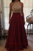 Discount Fashion Beaded Long Prom Dress with Sequins Custom Made Satin Beading Homecoming Dress PD147