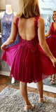 Custom Made Open Back Chiffon Homecoming Dress Fashion Short Beaded Lace Sweet 16th Dress HD032