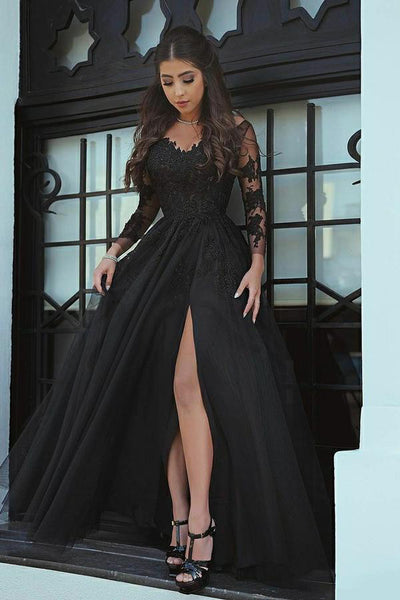 Custom Made Elegant Tulle Appliques Prom Dress Fashion Side Slit Wedding Party Dress PD154