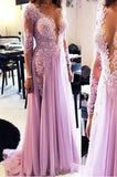 Sexy Deep V-Neck See Through Prom Dress Beaded Tulle Lace Evening Dress PD053
