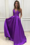 Custom Made Simple V-Neck Prom Dress Floor Length Graduation Party Dress PD104