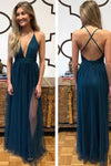 Simple Sexy V-Neck Side Slit Prom Dress Custom Made Long Tulle Evening Dress PD101