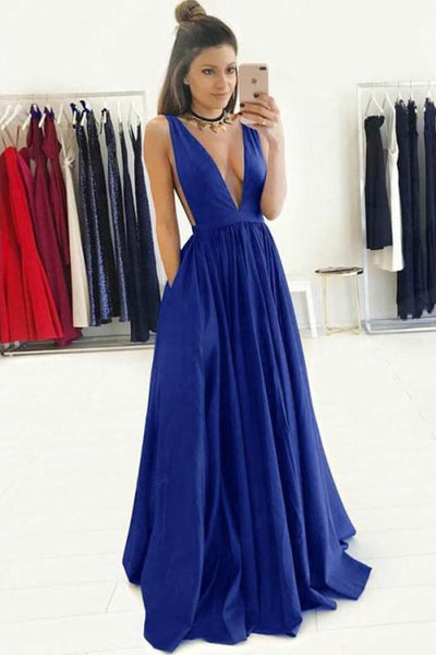 Custom Made Deep V-Neck Long Prom Dress Fashion Simple Satin Wedding Party Dress PD126