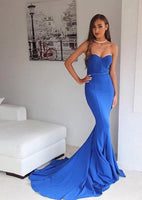 Royal Blue Sweetheart Prom Dress Mermaid Sweep Train Formal Dresses PD032