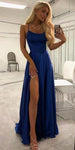 Custom Made Simple Royal Blue Chiffon Prom Dress Fashion Sexy Side Slit Evening Dress PD097