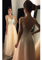 V-Neck Tulle Beading Prom Dress Backless Lace Appliques Evening Dress PD029
