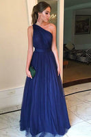 Custom Made Simple One-Shoulder Prom Dress Long Royal Blue Tulle Evening Dress PD172