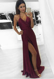 Halter V-Neck Backless Prom Dress Sexy Burgundy Side Split Evening Dress PD022