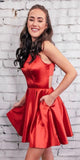 Simple Red Short Prom Dress Custom Made Short Homecoming Dress Fashion Short School Dance Dress PDS055