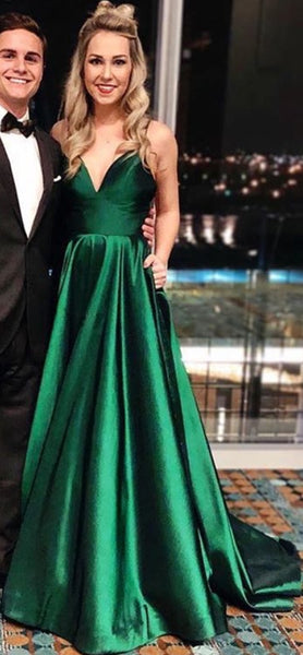 Simple Hunter Spaghetti Straps Satin Prom Dress Long 2019 Custom Made A-Line Evening Gowns Fashion Long Formal Dresses PD463