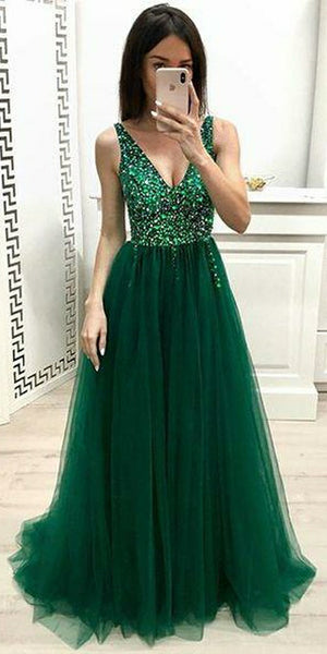 Sparkly Beaded Dark Green Prom Dress 2019 Custom Made Sexy V-Neck Evening Gowns Fashion Long Tulle Beadings School Dance Dress Women's Pageant Dress PD594