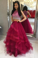 Custom Made Two Piece Layers Tulle Prom Dress Fashion Beaded Graduation Party Dress PD115