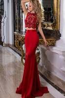 Elegant Two Piece Mermaid Prom Dress Custom Made Long Satin Lace Homecoming Dress PD113