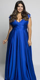 V-Neck Royal Blue Long Plus Size Prom Dress Custom Made Satin Long Plus Size Evening Dress Fashion Long School Dance Dresses PD688
