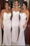 Sweetheart Satin Lace Bridesmaid Dress Sexy Mermaid Formal Dresses BD016