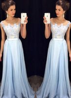 Custom Made Sky Blue Appliques Prom Dress 2019 Fashion Long Chiffon Evening Dress PD185