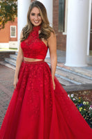 High Neck Beaded Appliques 2 Pieces Long Red Prom Dress Custom Made Two Pieces Graduation Party Dress Fashion Beadings School Dance Dresses PD426